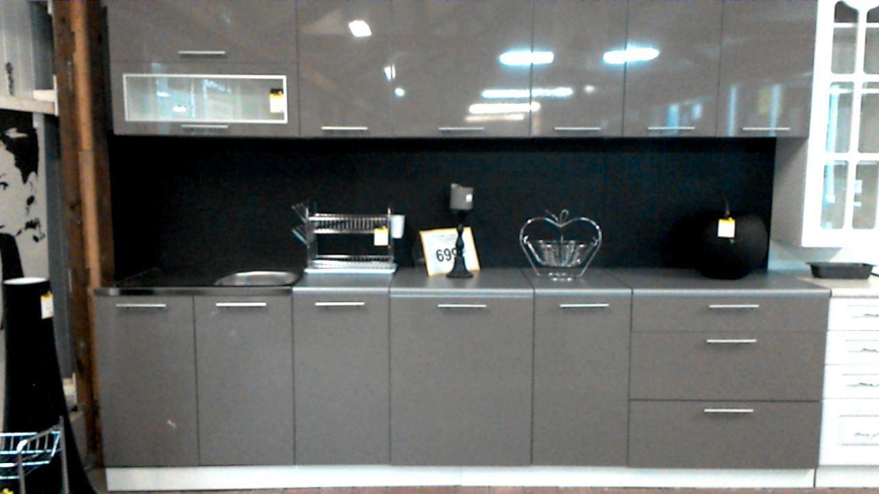 cuisine decor gris 10eleements 3m evier non fourni d. Black Bedroom Furniture Sets. Home Design Ideas