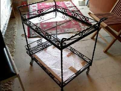 desserte a roulettes fer forg d 39 occasion. Black Bedroom Furniture Sets. Home Design Ideas