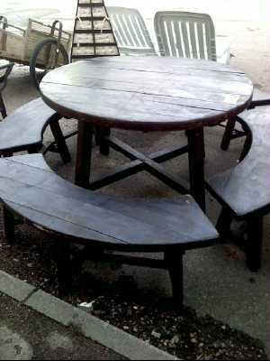 TABLE DE JARDIN BOIS AVEC BANC d\'occasion - Troc.com