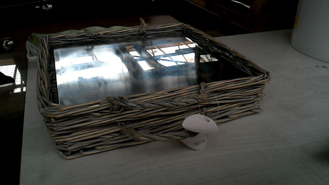 plateau miroir rotin petit carre d 39 occasion. Black Bedroom Furniture Sets. Home Design Ideas